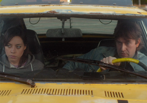 Darius (Aubrey Plaza) and Kenneth (Mark Duplass) hiding out from government agents in Safety Not Guaranteed.