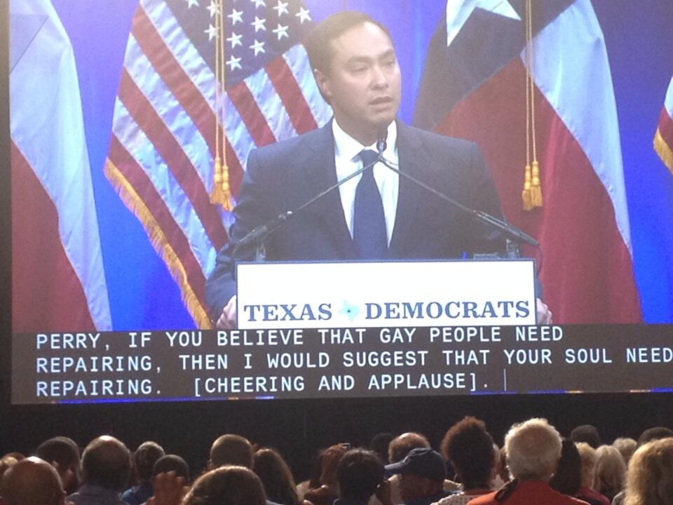 Congressman Castro speaks at the Texas Democrat Convention to the cheers of a packed house.